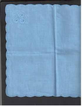 blue with emb flower and scallop edge